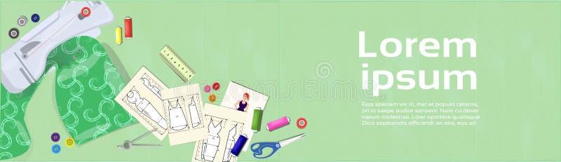 Diseñador de moda Workplace With Fabric y bosquejos de la ropa ilustración del vector