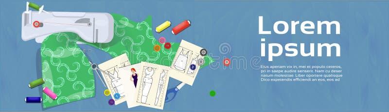 Diseñador de moda Workplace With Fabric y bosquejos de la ropa libre illustration