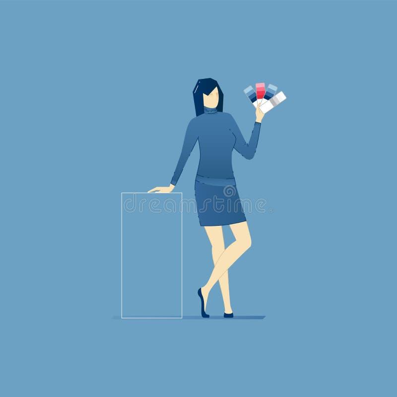 Diseñador de sexo femenino con la paleta de la carta de color ilustración del vector