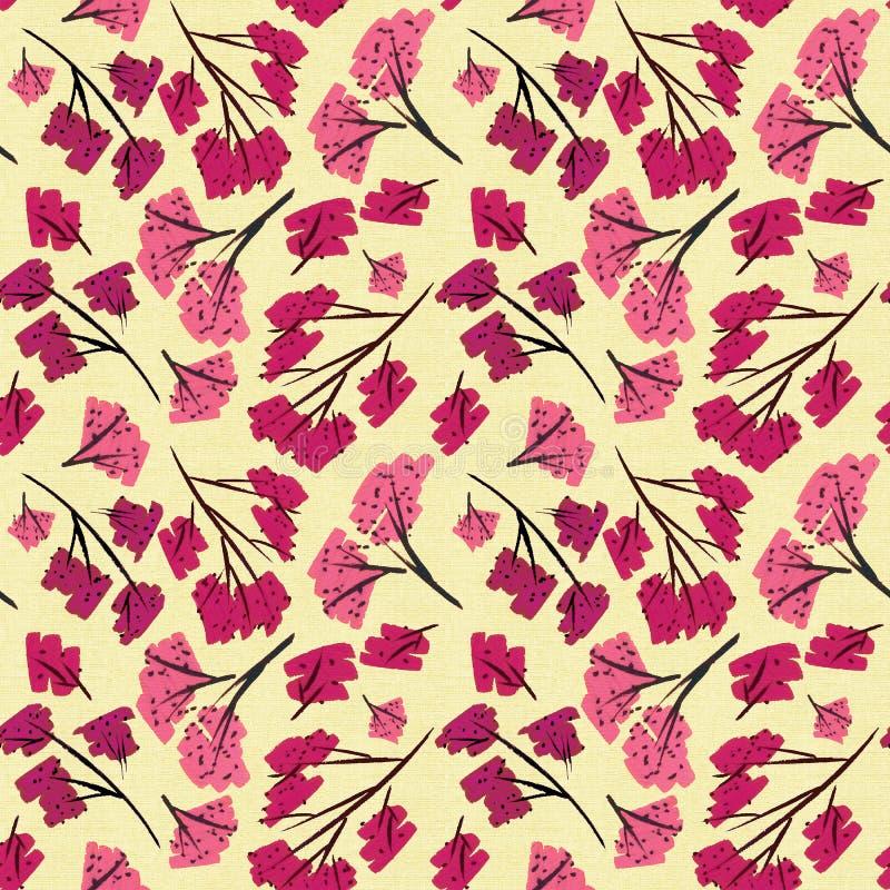 Diseñador del fondo del beige de la textura del modelo de las ramas de Sakura libre illustration