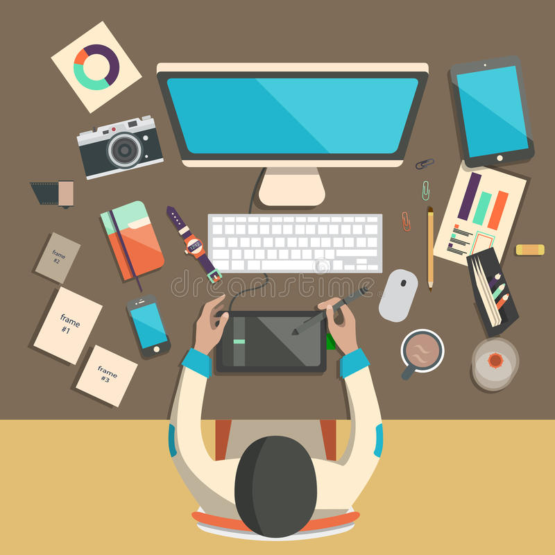 Diseñador en el trabajo stock de ilustración