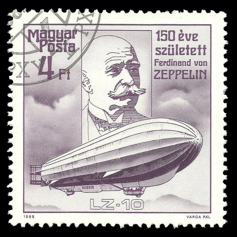 Diseñador Ferdinand von Zeppelin del dirigible fotografía de archivo