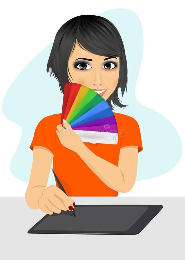 Diseñador gráfico asiático de sexo femenino atractivo que muestra la carta de color stock de ilustración