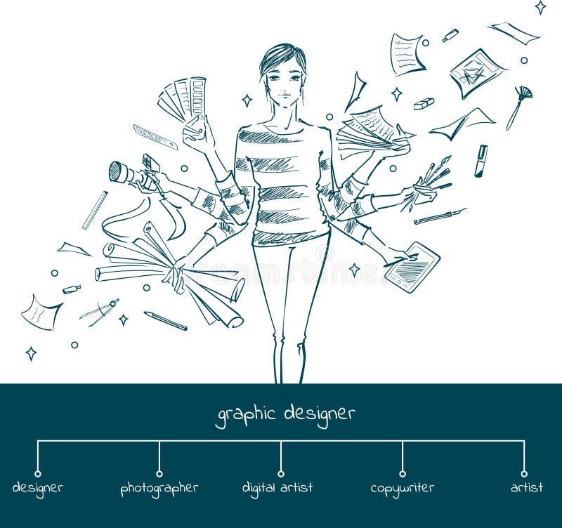 Diseñador gráfico con las herramientas de funcionamiento, concepto de la muchacha stock de ilustración