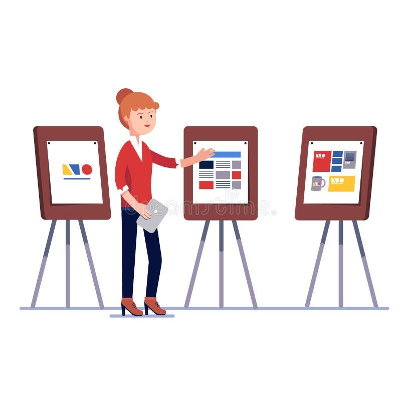 Diseñador gráfico de comercialización que muestra proyecto de diseño libre illustration