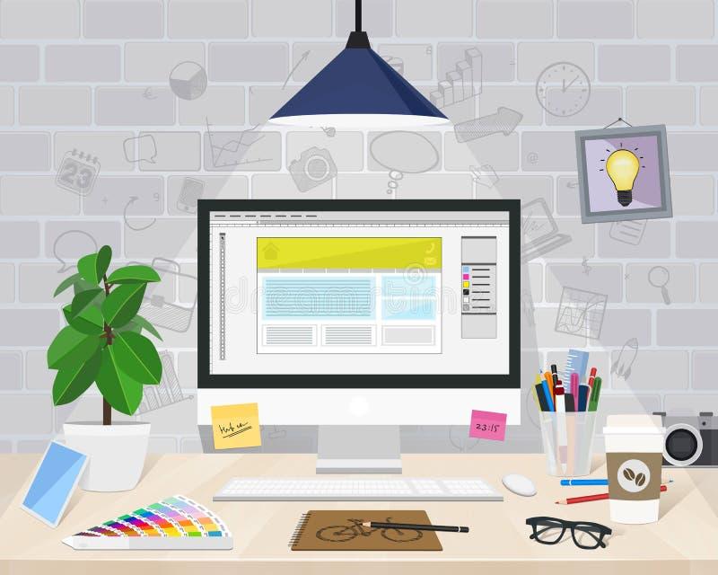 Diseñador gráfico de escritorio, ejemplo del vector stock de ilustración