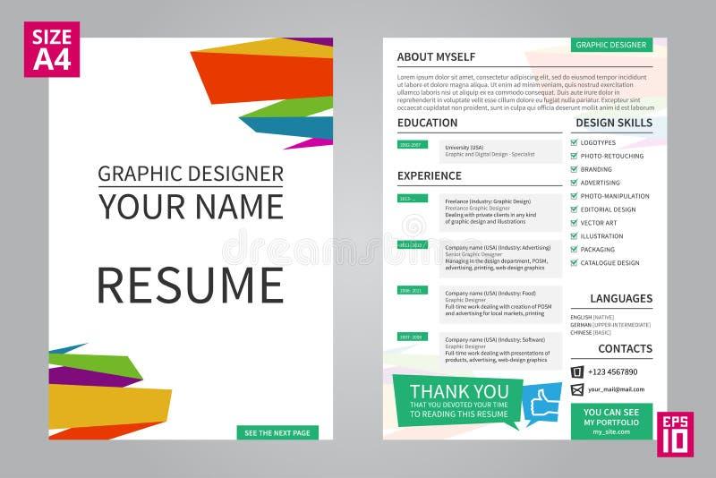 Diseñador gráfico del curriculum vitae ilustración del vector