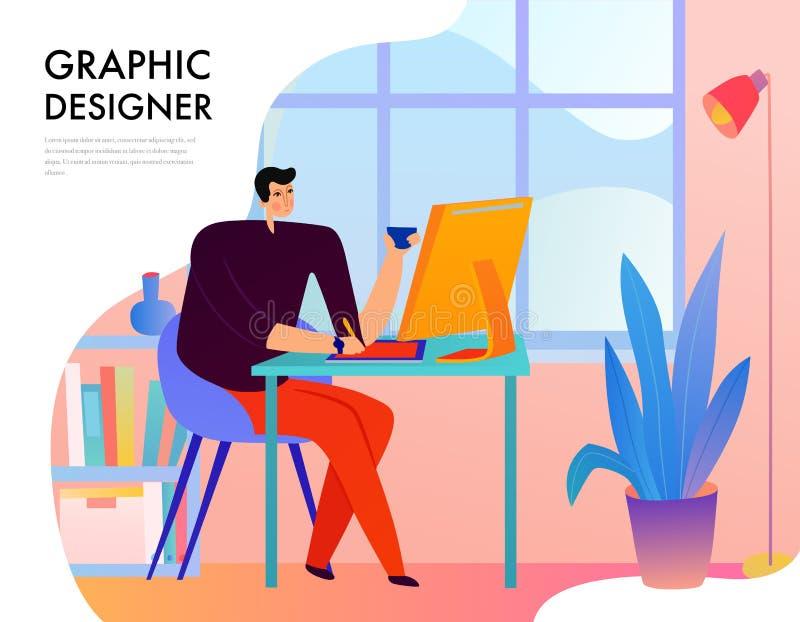 Diseñador gráfico Flat Illustration stock de ilustración
