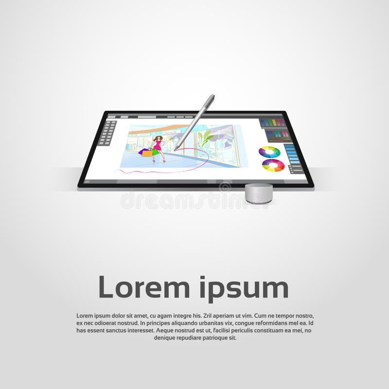 Diseñador gráfico moderno de escritorio Workplace de ordenador ilustración del vector