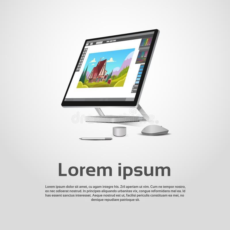 Diseñador gráfico moderno de escritorio Workplace de ordenador stock de ilustración