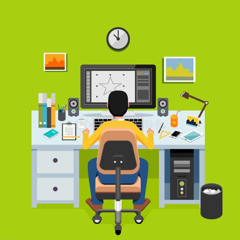Diseñador gráfico o ilustrador que trabaja en la mesa Concepto del Freelancer ilustración del vector