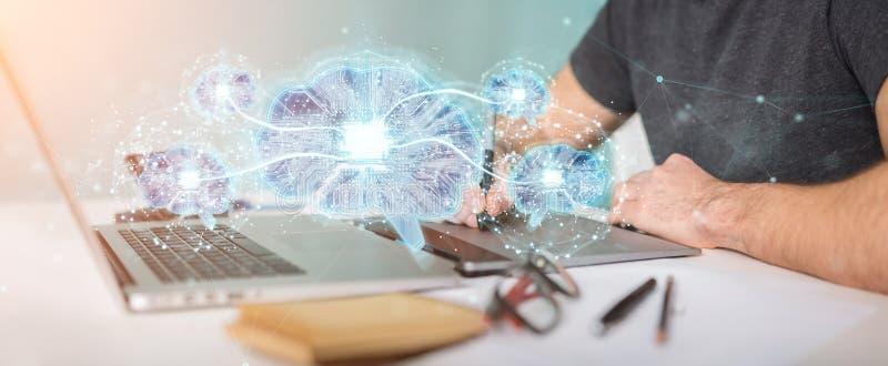 Diseñador gráfico que crea la inteligencia artificial en un b digital libre illustration