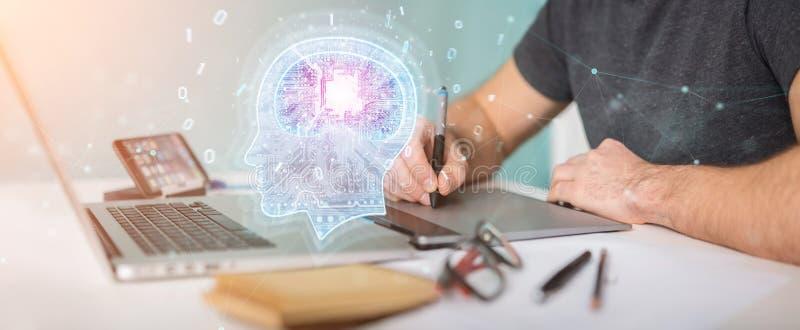 Diseñador gráfico que crea la representación de la inteligencia artificial 3D libre illustration