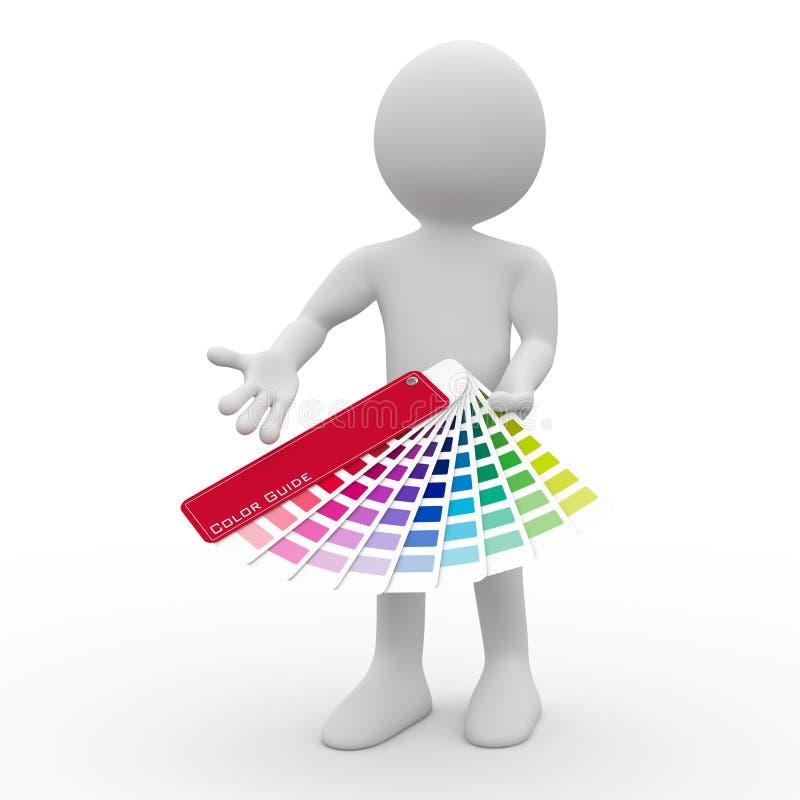 Diseñador gráfico que muestra una gama de colores de color ilustración del vector