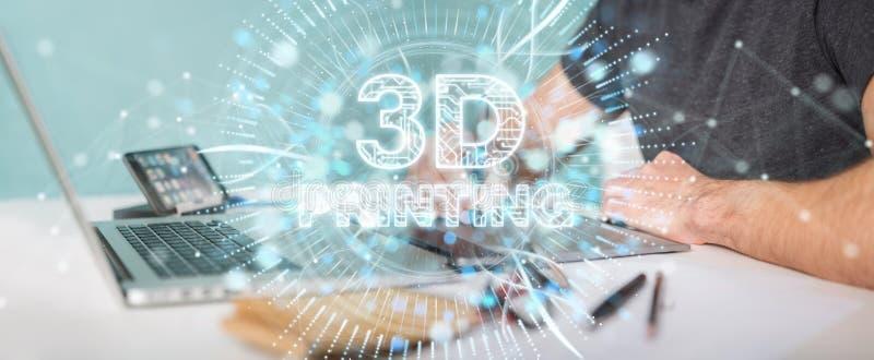 Diseñador gráfico que usa 3D que imprime la representación digital del holograma 3D stock de ilustración