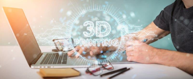 Diseñador gráfico que usa 3D que imprime la representación digital del holograma 3D libre illustration
