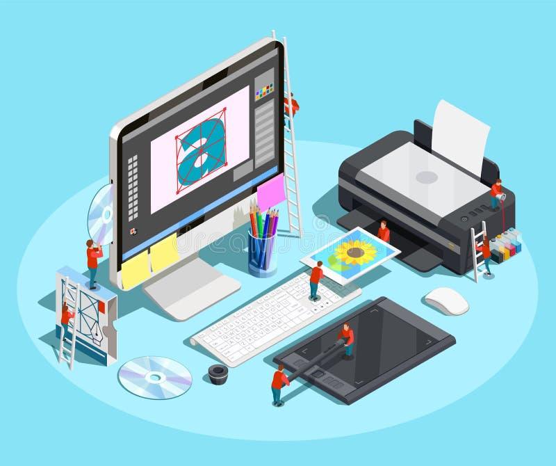 Diseñador gráfico Workspace Concept ilustración del vector