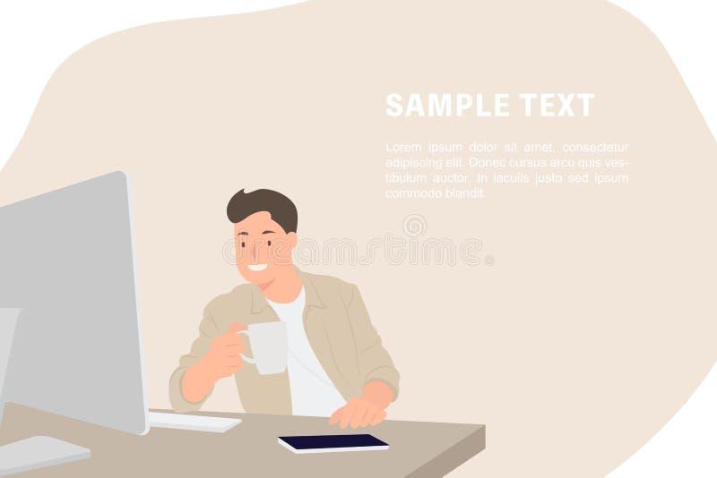 Diseñador hermoso de la plantilla de la bandera del diseño de carácter de la gente de la historieta que mira el monitor de comput ilustración del vector