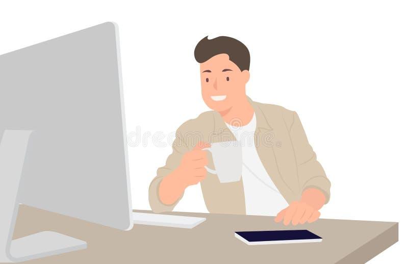 Diseñador hermoso del diseño de carácter de la gente de la historieta que mira el monitor de computadora y que bebe el café stock de ilustración