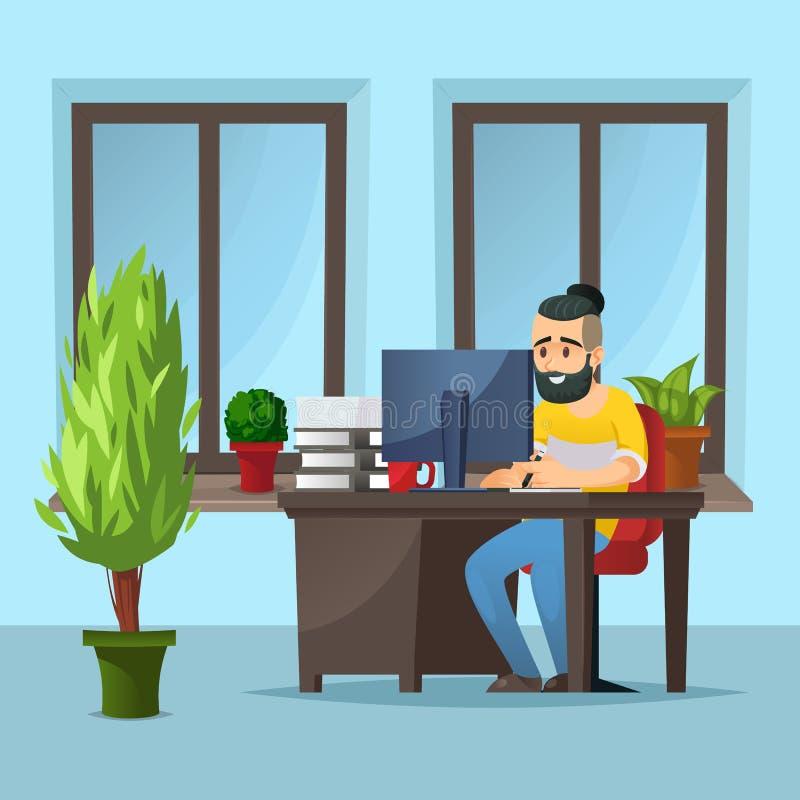Diseñador joven que usa la tableta de gráficos stock de ilustración
