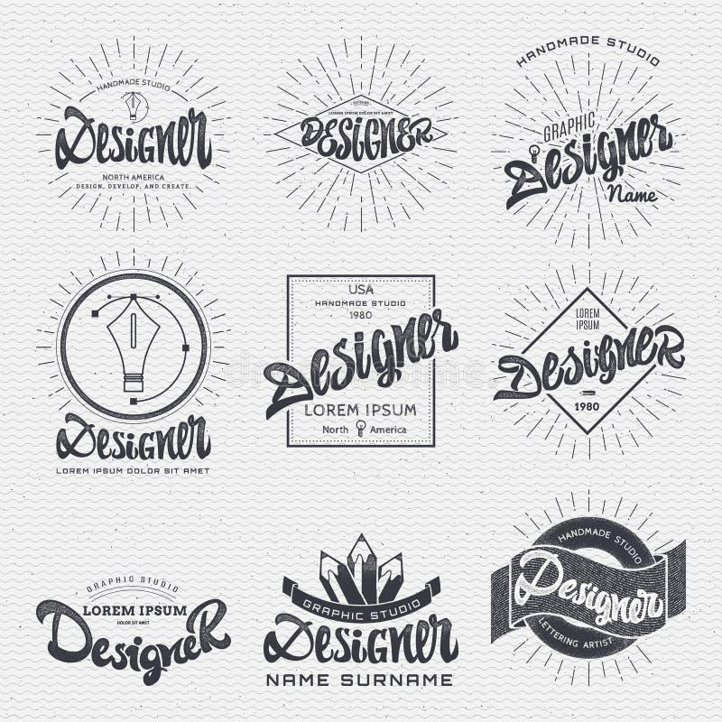Diseñador - la etiqueta engomada de las insignias se puede utilizar como un logotipo acabado, o diseño, presentación de la identi stock de ilustración