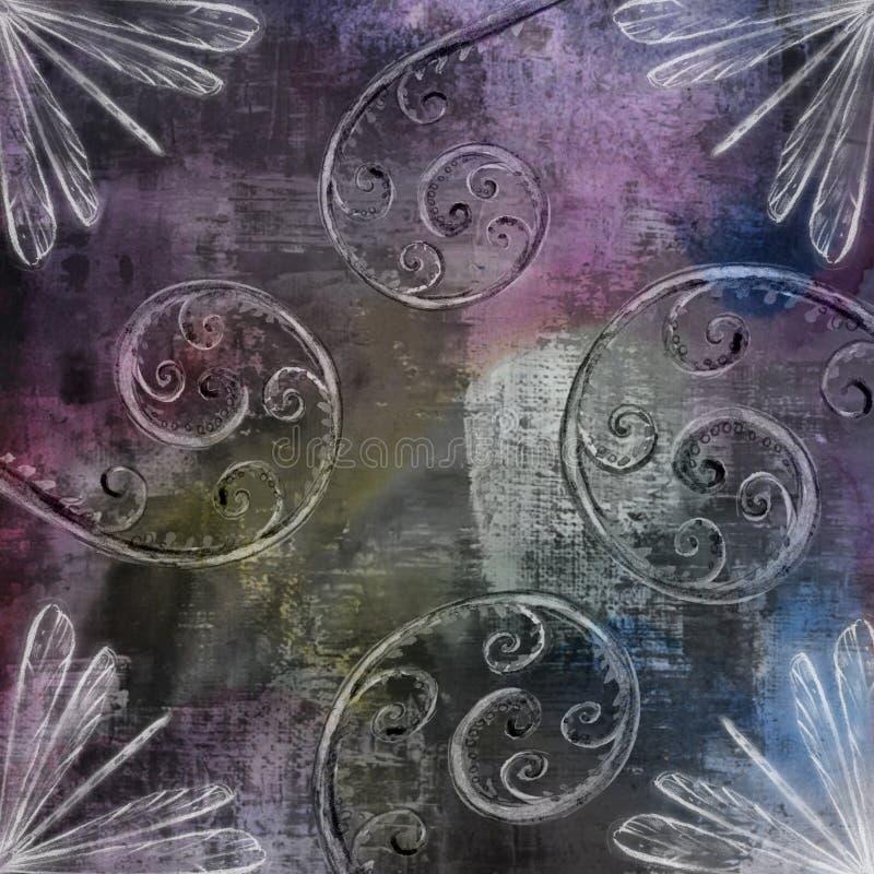 Diseñador púrpura oscuro Grunge Wallpapers del espiral de la materia textil stock de ilustración