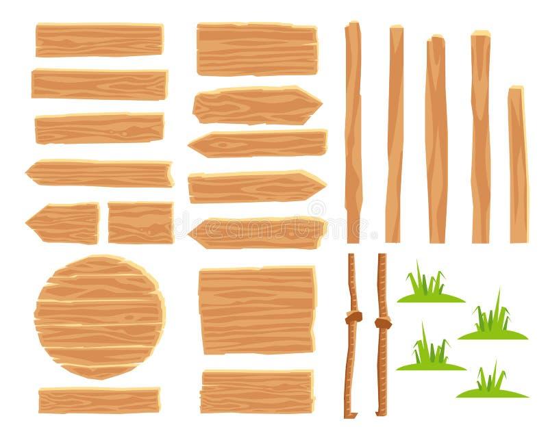 Diseñador para crear señales de tráfico de madera stock de ilustración