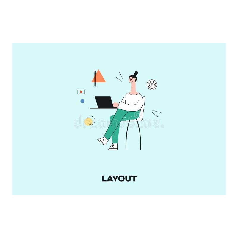 Diseñador plano de la mujer del vector en su lugar de trabajo ilustración del vector