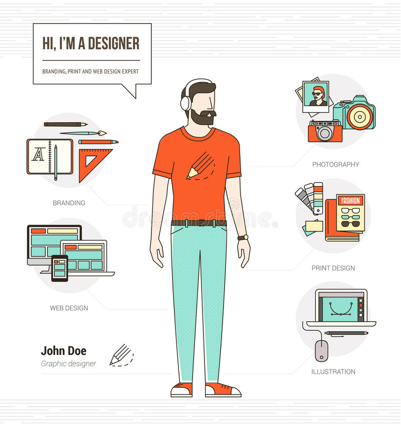 Diseñador profesional stock de ilustración