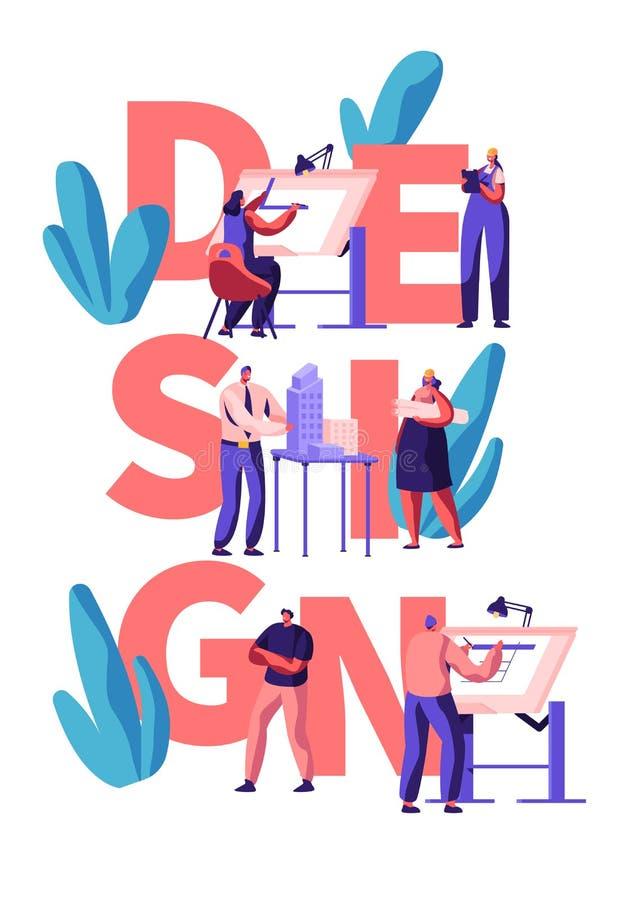 Diseñador profesional Teamwork Poster Drenaje del carácter del hombre y de la mujer y disposición del edificio del diseño Planeam stock de ilustración