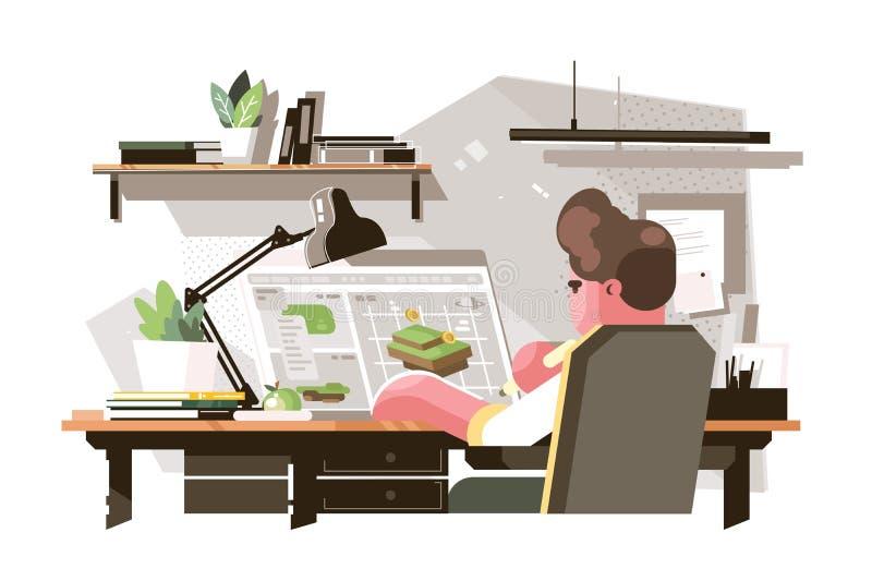 Diseñador que crea el nuevo proyecto ilustración del vector