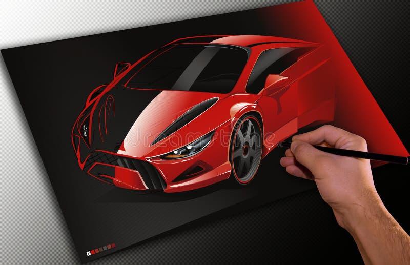 Diseñador que drena un coche stock de ilustración