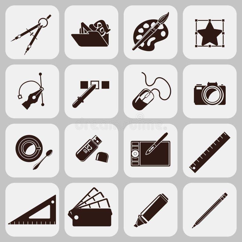 Diseñador Tools Black Icons stock de ilustración