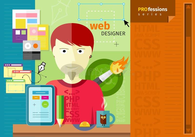 Diseñador web de sexo masculino con la tableta en lugar de trabajo libre illustration