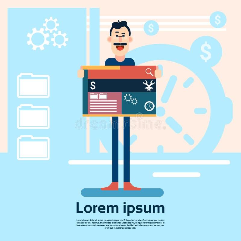Diseñador web Graphic Design Background del hombre stock de ilustración