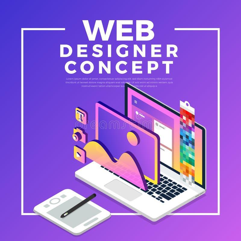 Diseñador web plano isométrico del concepto de diseño Ilustración del vector stock de ilustración