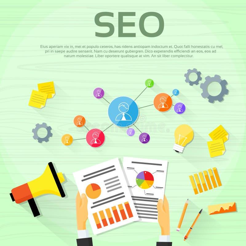 Diseñador web Workplace del márketing de Seo Digital stock de ilustración