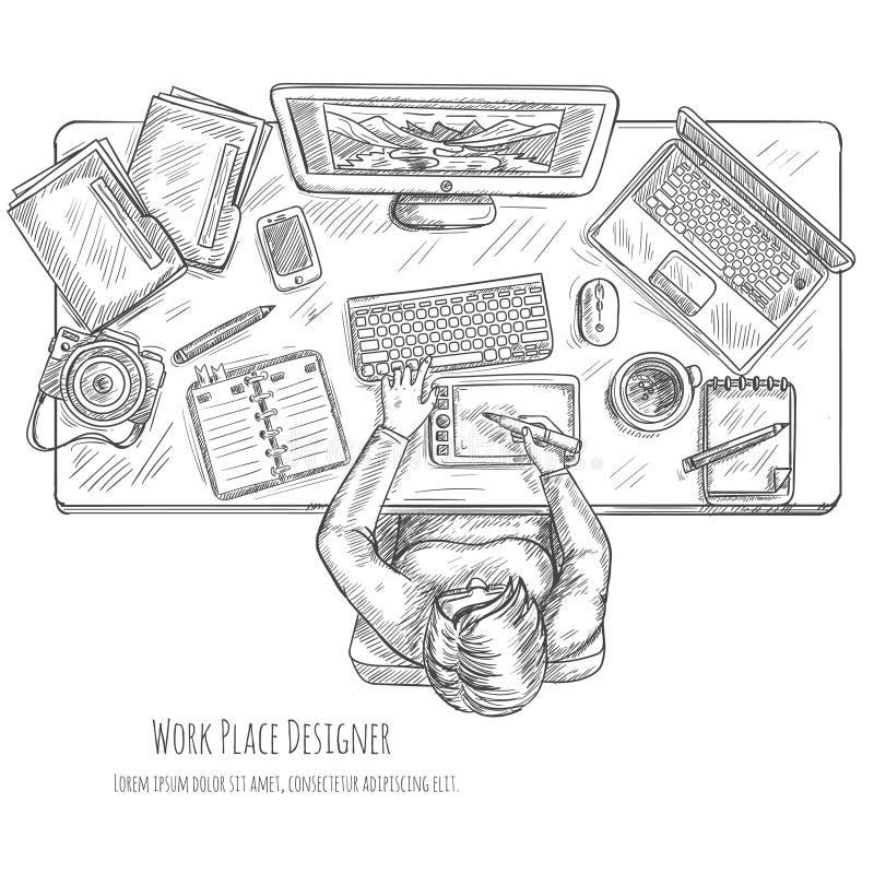 Diseñador Workplace Sketch ilustración del vector