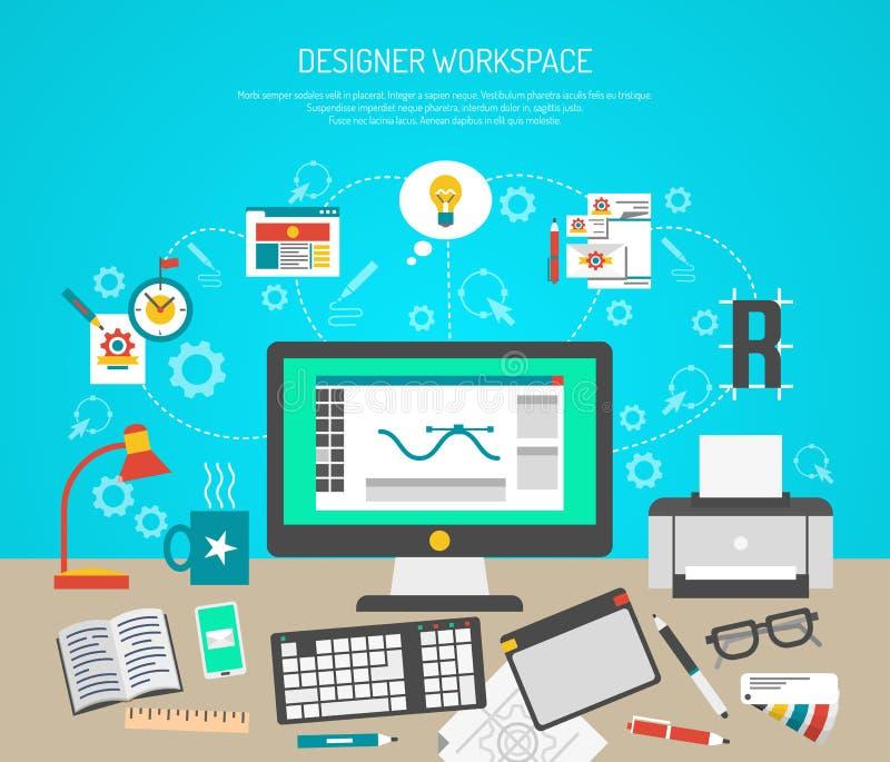 Diseñador Workspace Concept ilustración del vector