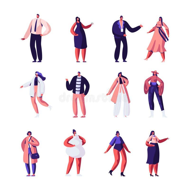 Diseñadores de moda y sistema de los modelos Ropa y pista de las altas costuras Muchachas que demuestran el soporte de moda de la stock de ilustración