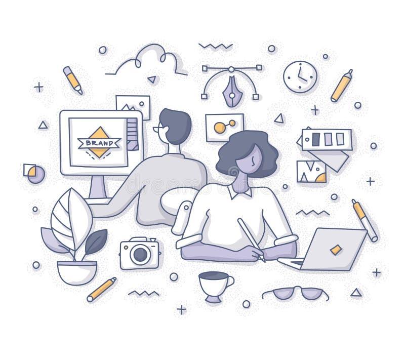 Diseñadores en el concepto del trabajo libre illustration