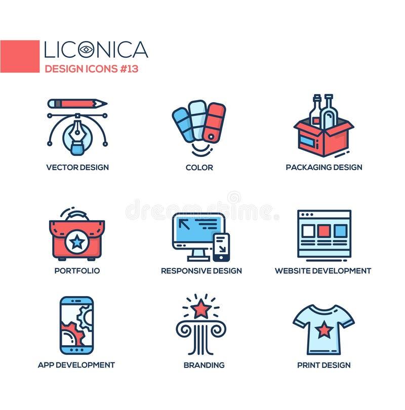 Diseñando - línea fina iconos del diseño, pictogramas stock de ilustración