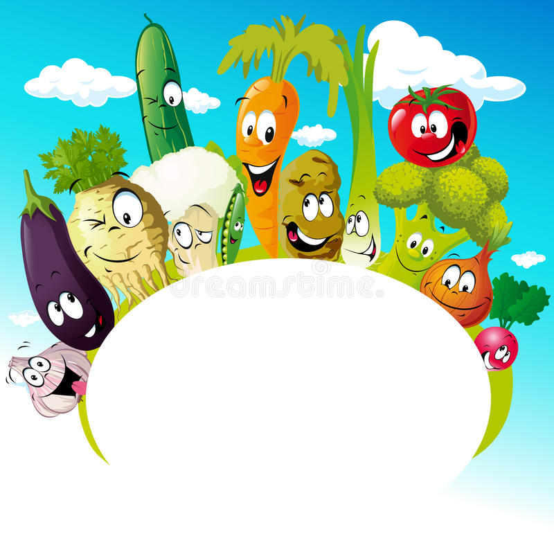 Diseñe con la historieta vegetal divertida - vector el ejemplo libre illustration
