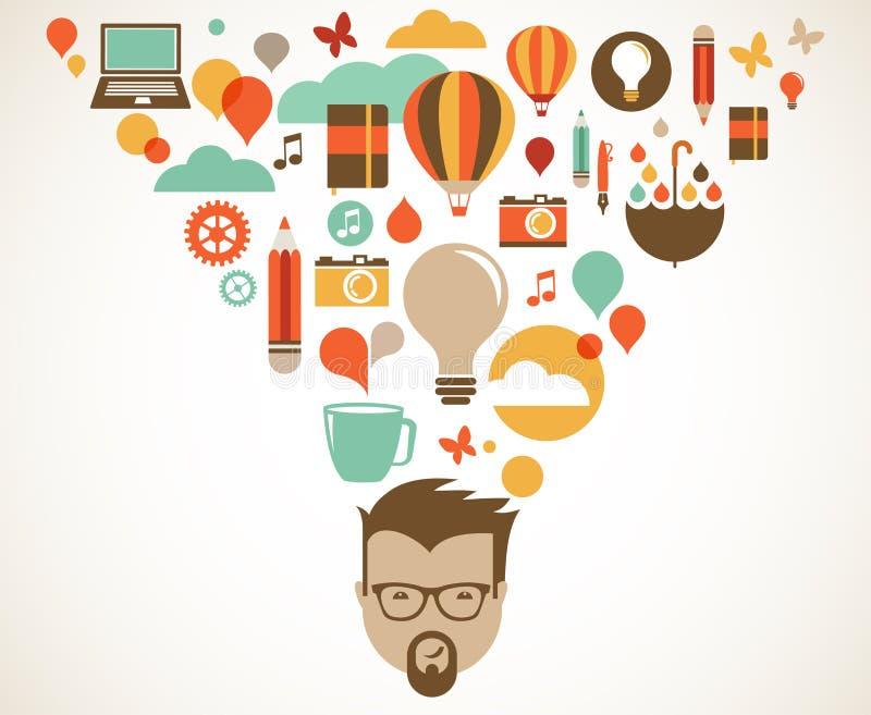 Diseñe, creativo, idea y concepto de la innovación ilustración del vector