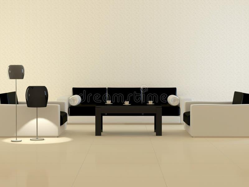 Diseñe el interior de la sala de estar moderna de la elegancia stock de ilustración