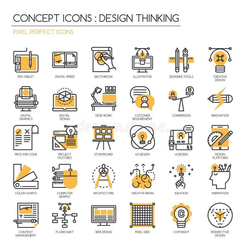 Diseñe el pensamiento, iconos perfectos del pixel, Pix ilustración del vector