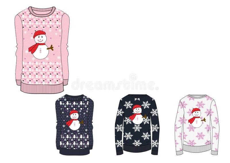 Diseñe la plantilla del suéter de la Navidad de las muchachas en indicador pesado ilustración del vector