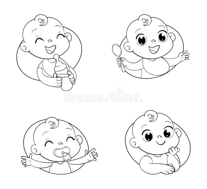 Diseñe la plantilla para los alimentos para niños y embroma la tienda del ` s de los productos y de los niños de higiene stock de ilustración