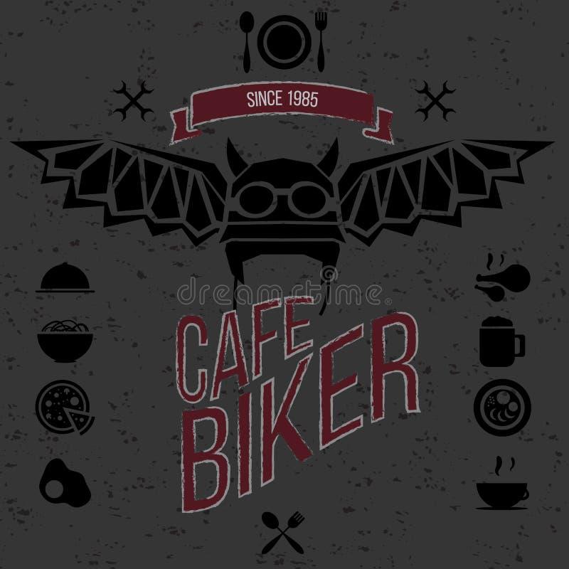 Diseñe los elementos para la barra del café para los motoristas ilustración del vector