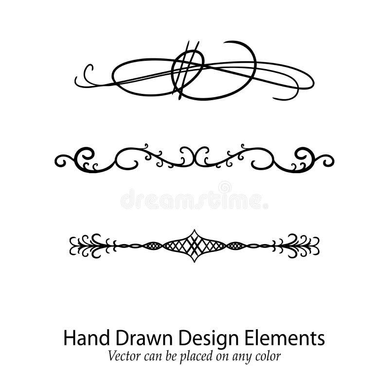 Diseñe los elementos vector, texto o divisores adornados de lujo dibujados mano del párrafo ilustración del vector